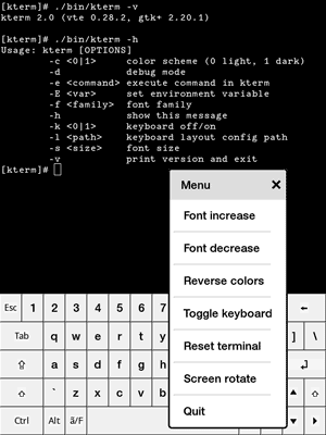Kterm – terminal emulator for Kindle Touch and Paperwhite